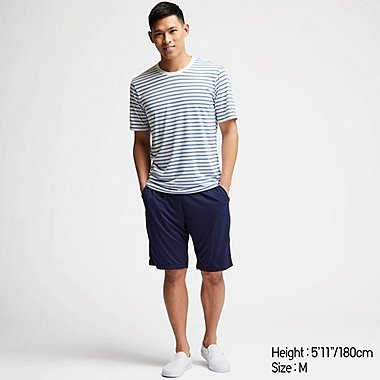 b790e0f6d5 MEN AIRISM STRIPED SHORT SLEEVED SET
