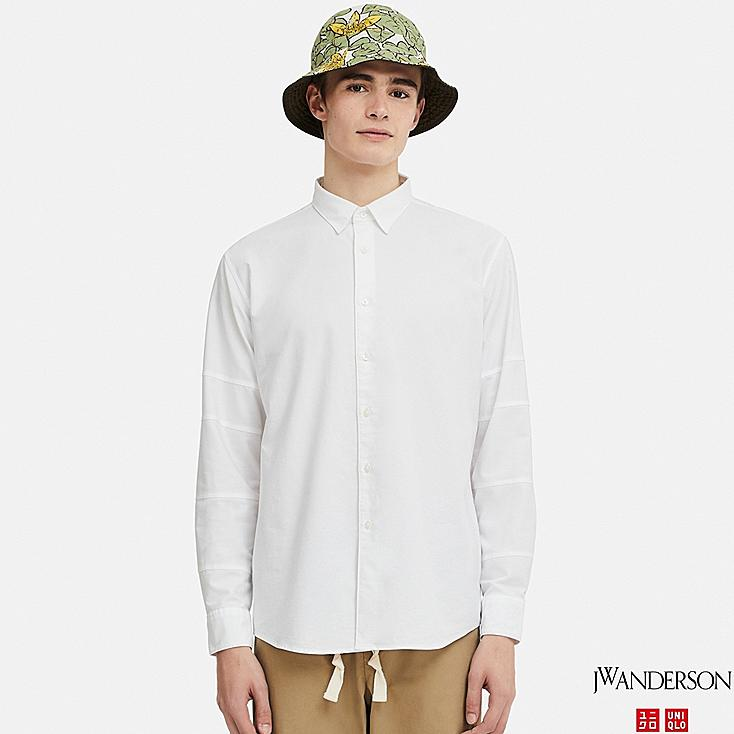 MEN OXFORD CRAZY PATTERNED LONG-SLEEVE SHIRT (JW Anderson), OFF WHITE, large
