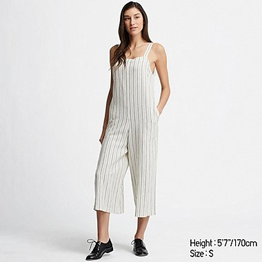 WOMEN LINEN BLEND STRIPED JUMPSUIT, OFF WHITE, medium