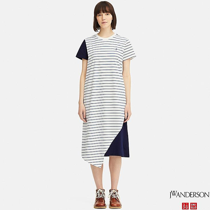 WOMEN ASYMMETRIC HEM SHORT-SLEEVE DRESS (JW Anderson), OFF WHITE, large