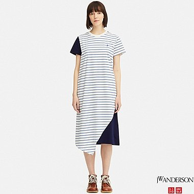 WOMEN ASYMMETRIC HEM SHORT-SLEEVE DRESS (JW Anderson), OFF WHITE, medium