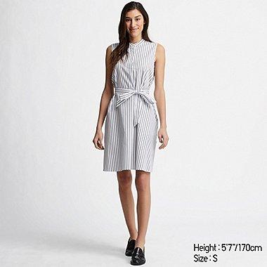 WOMEN EXTRA FINE COTTON A-LINE STRIPED SLEEVELESS DRESS, OFF WHITE, medium