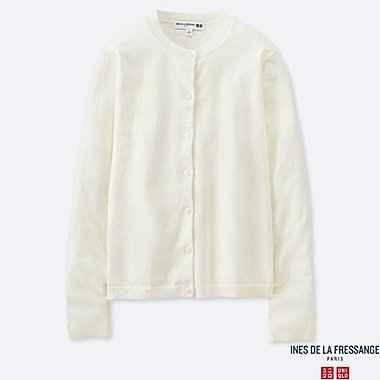 WOMEN COTTON CASHMERE CREW NECK CARDIGAN (INES DE LA FRESSANGE), OFF WHITE, medium