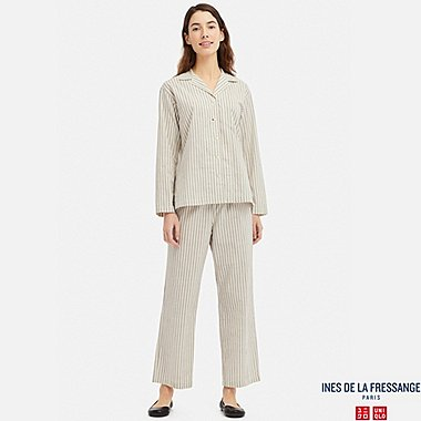 WOMEN LONG-SLEEVE COTTON PAJAMAS (INES DE LA FRESSANGE), OFF WHITE, medium