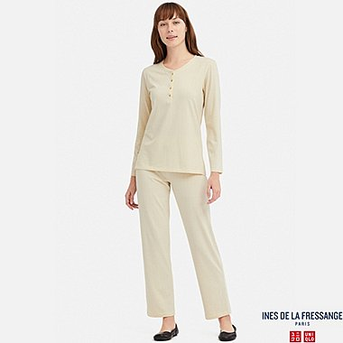 WOMEN LONG-SLEEVE JERSEY PAJAMAS (INES DE LA FRESSANGE), OFF WHITE, medium