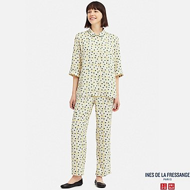 WOMEN 3/4 SLEEVE RAYON PAJAMAS (INES DE LA FRESSANGE), OFF WHITE, medium