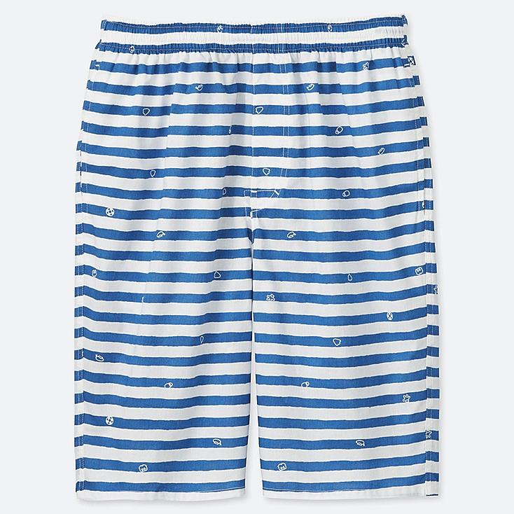 MEN MICKEY BLUE LIGHT COTTON EASY SHORTS, OFF WHITE, large