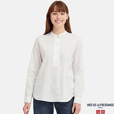 WOMEN INES LINEN COTTON BLEND STAND COLLAR LONG SLEEVED SHIRT