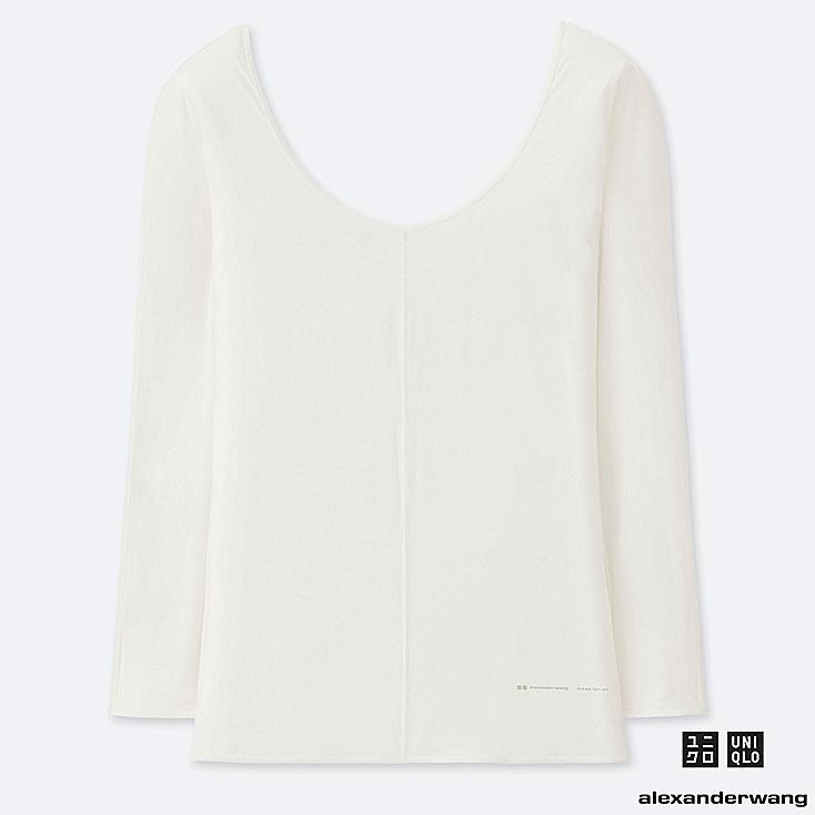 WOMEN AIRism ROUND NECK LONG-SLEEVE T-SHIRT (ALEXANDER WANG), OFF WHITE, large