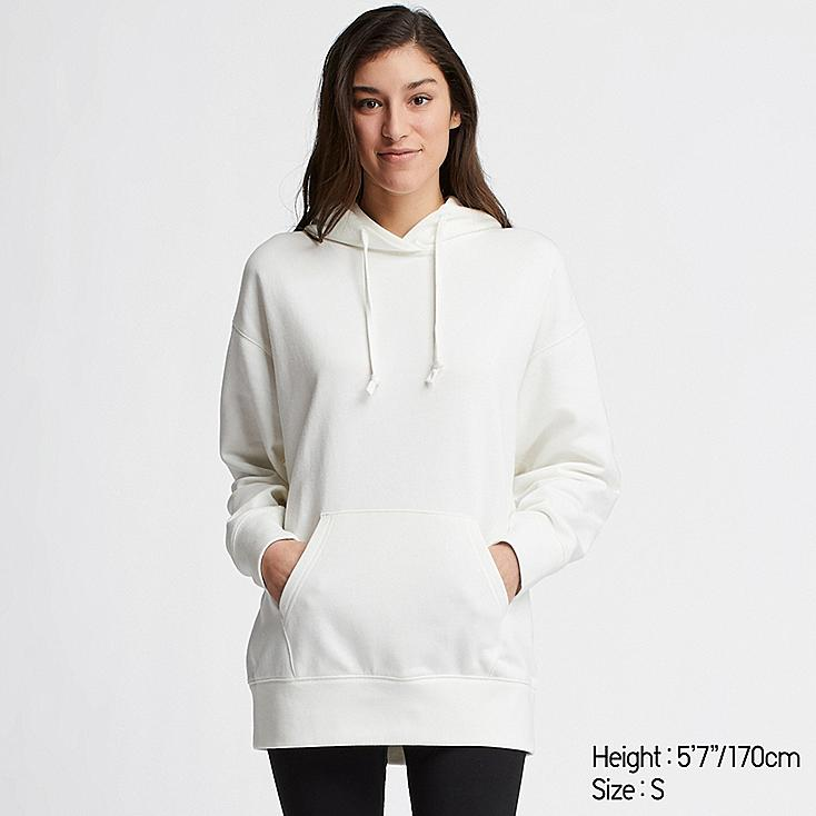 WOMEN BIG SWEAT LONG-SLEEVE PULLOVER HOODIE (ONLINE EXCLUSIVE), OFF WHITE, large