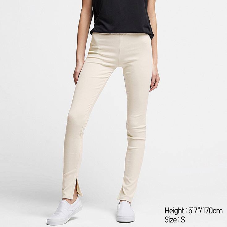 WOMEN RIBBED SLIT LEGGINGS, OFF WHITE, large