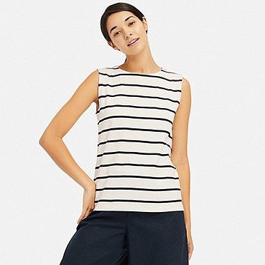 WOMEN STRIPED SLEEVELESS T-SHIRT, OFF WHITE, medium