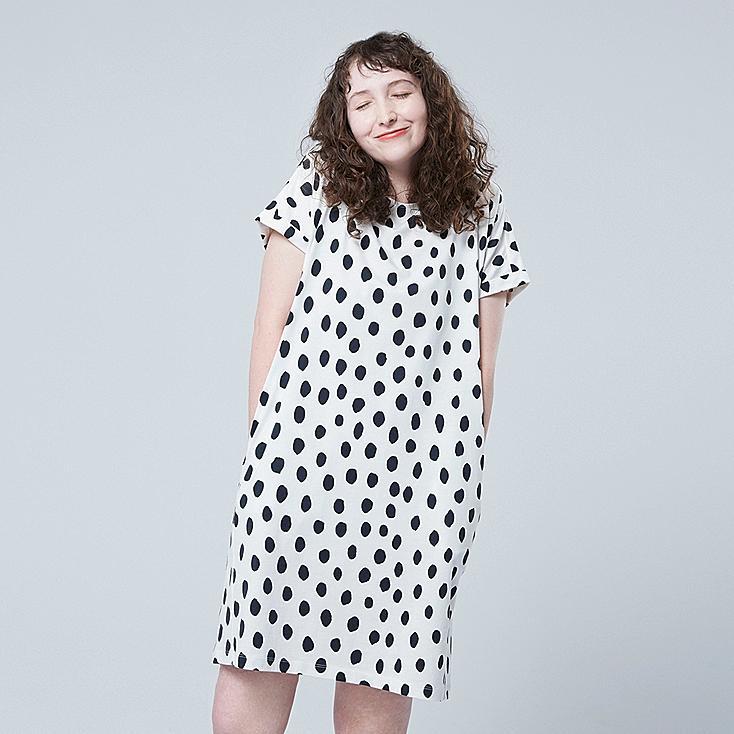 WOMEN SCANDINAVIAN SHORT-SLEEVE DRESS, OFF WHITE, large