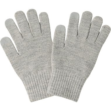HEATTECH KNITTED GLOVES, LIGHT GRAY, medium