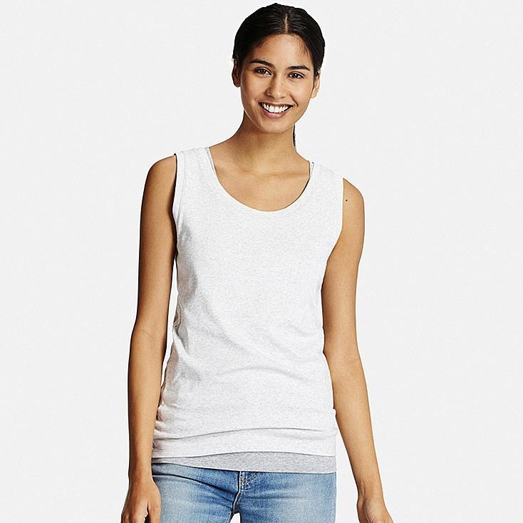 Women Supima® Cotton Tank Top, LIGHT GRAY, large