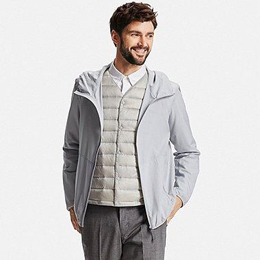 Mens Lightweight Packable Hooded Jacket, LIGHT GRAY, medium