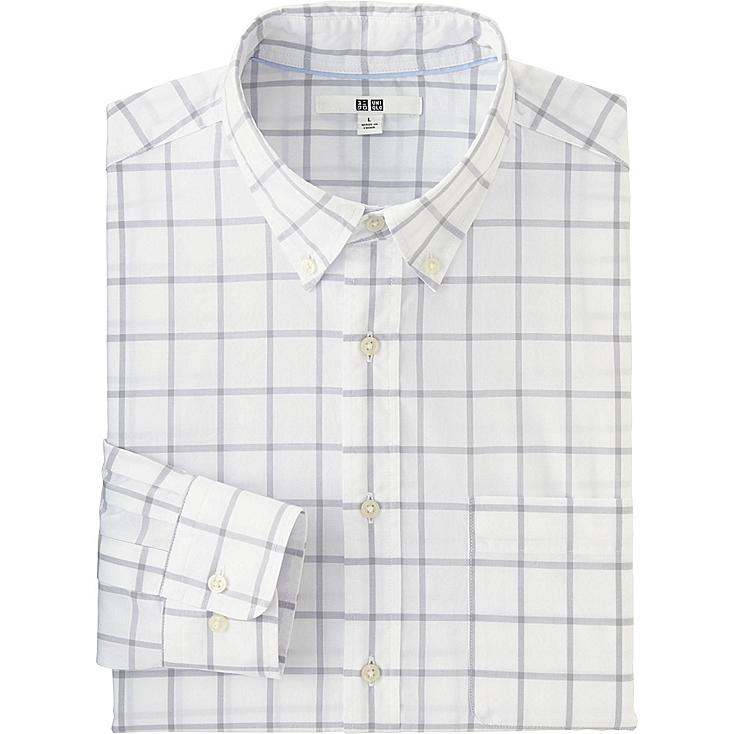 Men's Extra Fine Cotton Broadcloth Checked Dress Shirt, LIGHT GRAY, large