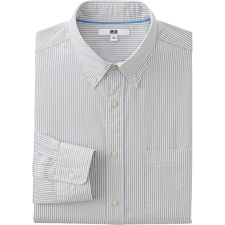 Men's Extra Fine Cotton Broadcloth Printed Dress Shirt, LIGHT GRAY, large