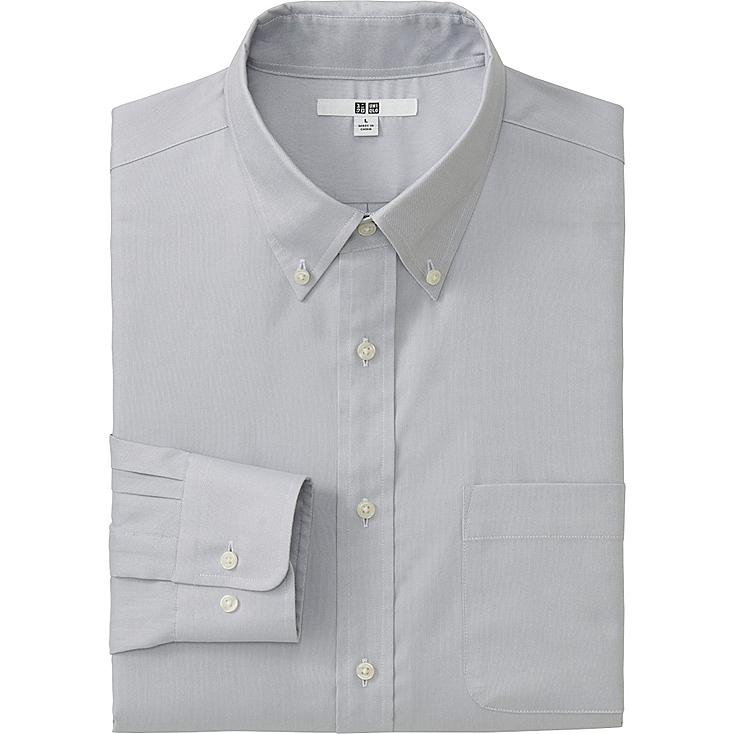MEN EASY CARE OXFORD LONG SLEEVE SHIRT, LIGHT GRAY, large
