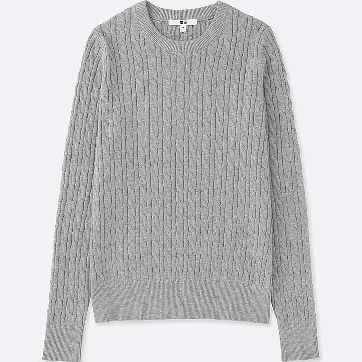 Women Cotton Cashmere Cable Knit Sweater | UNIQLO US