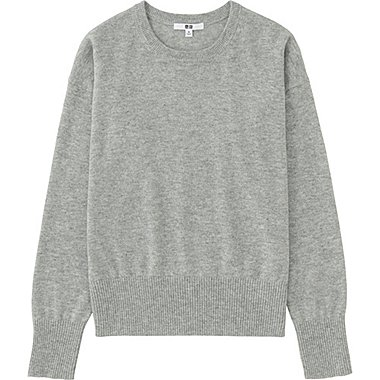 Women Cashmere Crew Neck Sweater, LIGHT GRAY, medium
