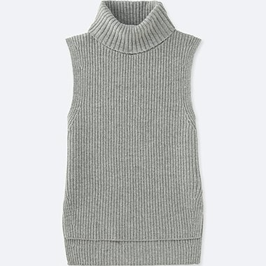 WOMEN MIDDLE GAUGE TURTLENECK LONG VEST, LIGHT GRAY, medium
