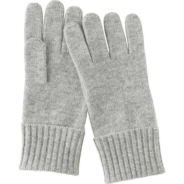 WOMEN CASHMERE GLOVES, LIGHT GRAY, large