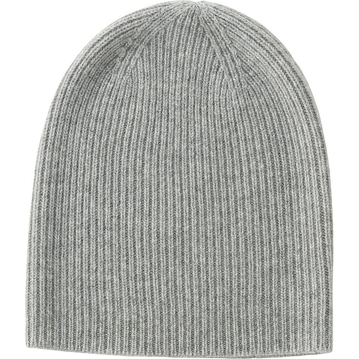 WOMEN CASHMERE BEANIE, LIGHT GRAY, large