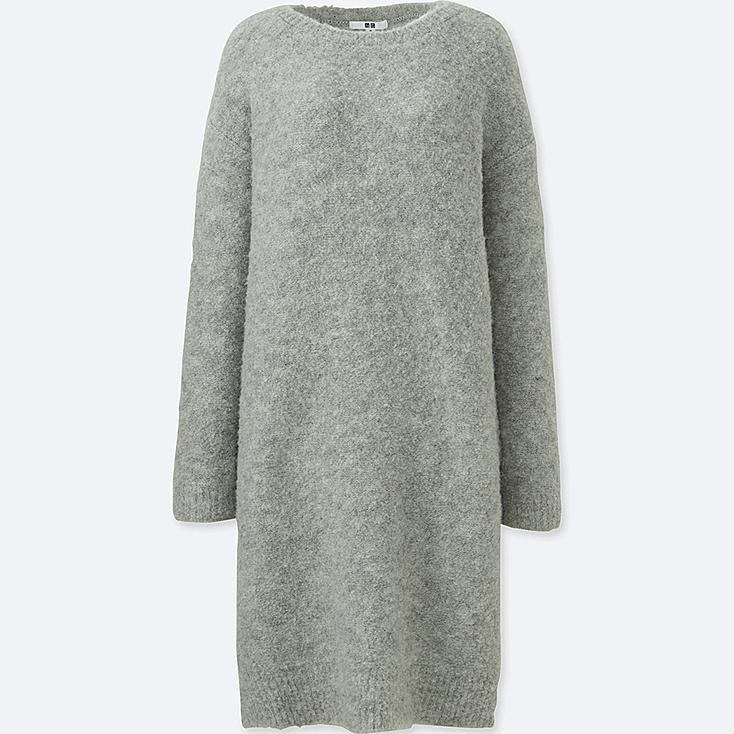 WOMEN Boucle Knit Long Sleeve Dress