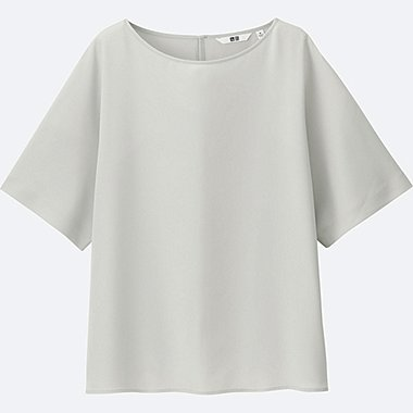 WOMEN Easy Care Drape Short Sleeve Blouse