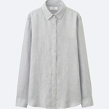 WOMEN PREMIUM LINEN LONG-SLEEVE SHIRT, LIGHT GRAY, medium
