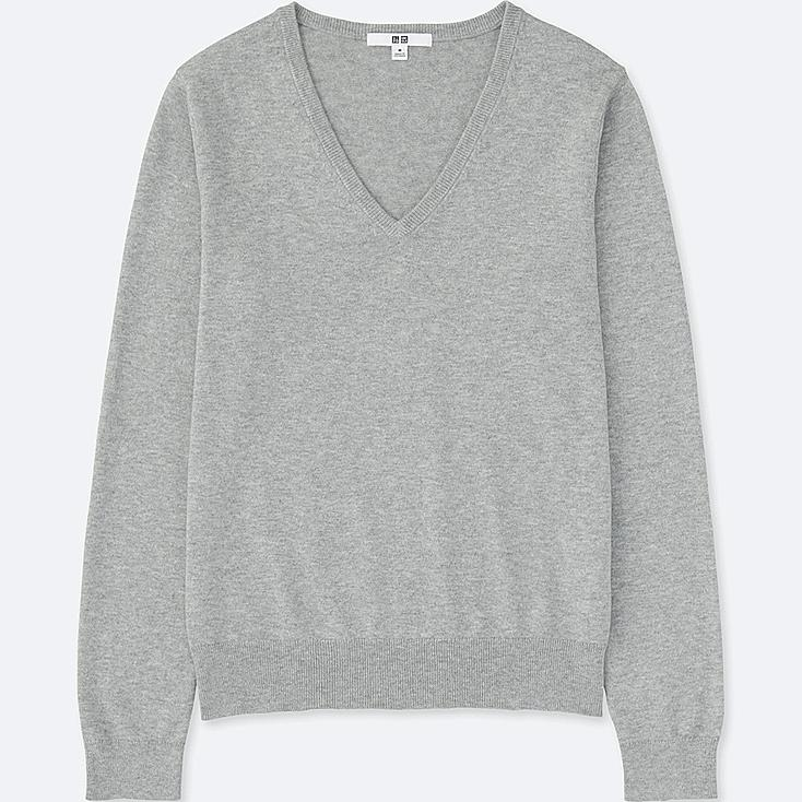 WOMEN COTTON CASHMERE V-NECK SWEATER | UNIQLO US