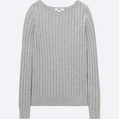 WOMEN COTTON CASHMERE WIDE RIBBED SWEATER, LIGHT GRAY, medium