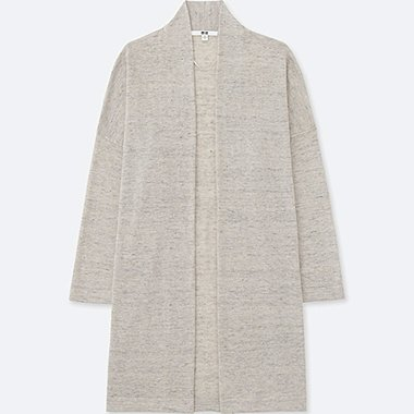 WOMEN LINEN BLENDED LONG-SLEEVE CARDIGAN, LIGHT GRAY, medium