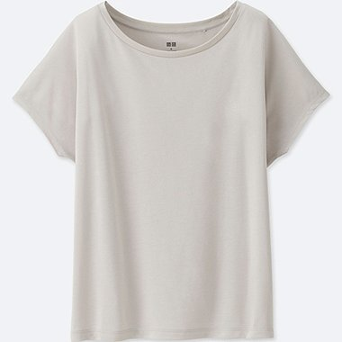 WOMEN DRAPE CREWNECK SHORT-SLEEVE T-SHIRT, LIGHT GRAY, medium