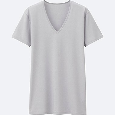MEN AIRism V-NECK T-SHIRT SHORT SLEEVE, LIGHT GRAY, medium