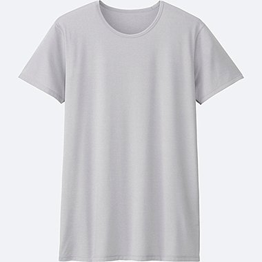 MEN AIRism CREWNECK T-SHIRT SHORT SLEEVE, LIGHT GRAY, medium