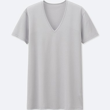 MEN AIRism MESH V-NECK SHORT-SLEEVE T-SHIRT, LIGHT GRAY, medium