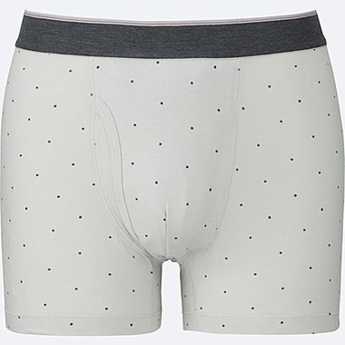 MEN Supima® COTTON DOTS BOXER BRIEFS, LIGHT GRAY, medium