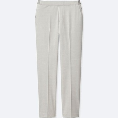 WOMEN SMART STYLE ANKLE LENGTH PANTS, LIGHT GRAY, medium