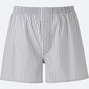 MEN WOVEN STRIPED TRUNKS, LIGHT GRAY, medium