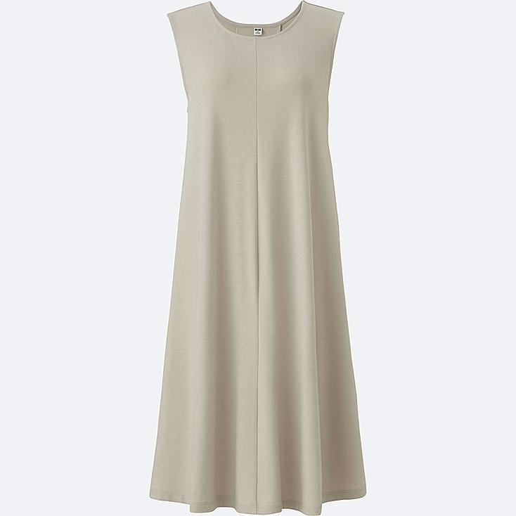 WOMEN JERSEY FLARE SLEEVELESS DRESS, LIGHT GRAY, large