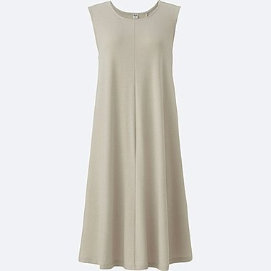 WOMEN JERSEY FLARE SLEEVELESS DRESS, LIGHT GRAY, medium