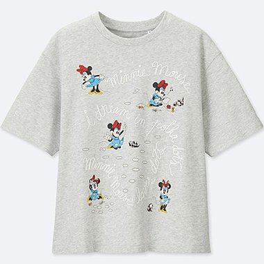 WOMEN Disney (MINNIE MOUSE LOVES DOTS) SHORT-SLEEVE GRAPHIC T-SHIRT, LIGHT GRAY, medium