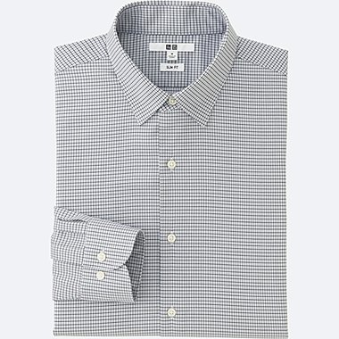 MEN EASY CARE SLIM FIT CHECKED LONG SLEEVE SHIRT, LIGHT GRAY, medium