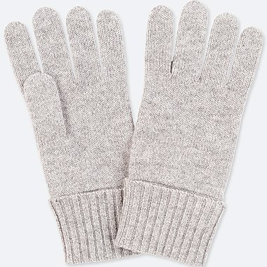 CASHMERE KNITTED GLOVES, LIGHT GRAY, medium