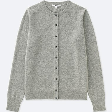 WOMEN CASHMERE CREW NECK CARDIGAN (ONLINE EXCLUSIVE), LIGHT GRAY, medium