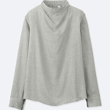 women rayon long-sleeve blouse (thick weave)