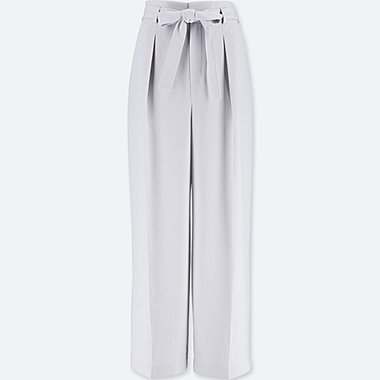 WOMEN HIGH-WAIST RIBBON WIDE LEG PANTS, LIGHT GRAY, medium