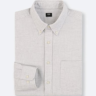 MEN FLANNEL CHECKED LONG-SLEEVE SHIRT, LIGHT GRAY, medium